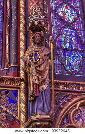 Knight Wood Carving Stained Glass Cathedral Sainte Chapelle Paris France