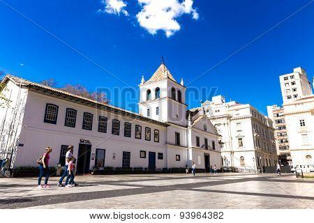 SAO PAULO, BRAZIL - CIRCA JUNE 2015: Patio do Colegio in Sao Paulo, Brazil