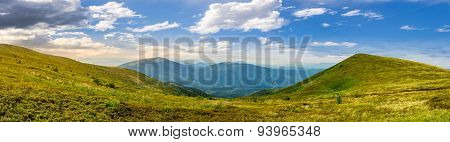 Panorama Of Hillside With Stones In High Mountains