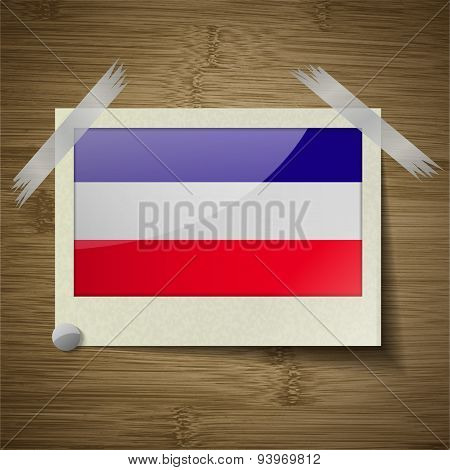 Flags Los Altos At Frame On Wooden Texture. Vector