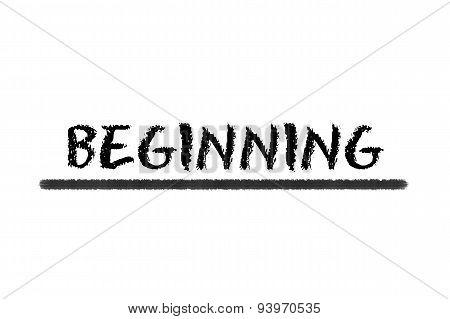 Beginning Black Script On A White Background