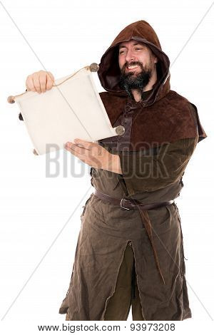 Medieval Man Is Reading Aloud A Old Aged Scroll