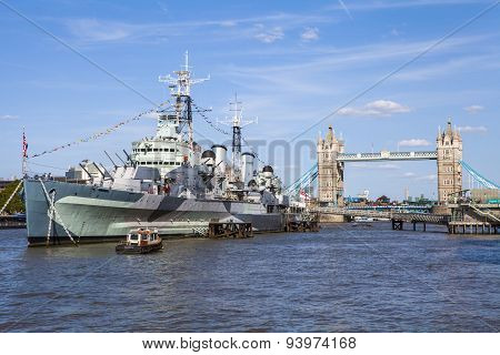 Hms Belfast And Tower Bridge In London