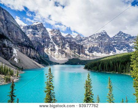 Moraine lake in the Valley of Ten Peaks