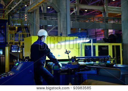 VSEVOLOZHSK, LENINGRAD OBLAST, RUSSIA - JUNE 5, 2015: People at work in the joint enterprise Severstal-SSC-Vsevolozsk. The joint venture of Severstal and Japanese Mitsui was established in 2010
