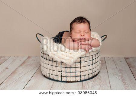 Newborn Baby Boy Sleeping In A Wire Basket