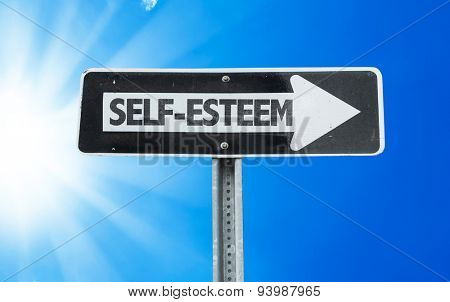 Self-Esteem direction sign with a beautiful day