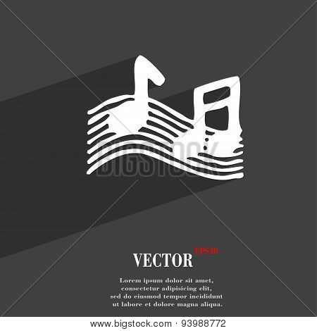 Musical Note, Music, Ringtone Icon Symbol Flat Modern Web Design With Long Shadow And Space For Your