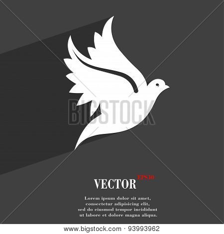 Dove Icon Symbol Flat Modern Web Design With Long Shadow And Space For Your Text. Vector