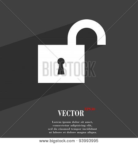 Open Lock Icon Symbol Flat Modern Web Design With Long Shadow And Space For Your Text. Vector