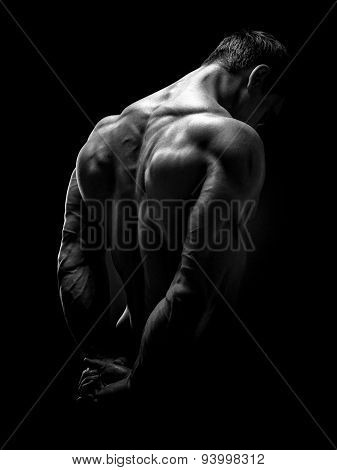 Handsome Muscular Bodybuilder Turned Back