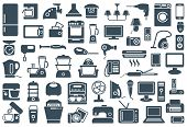 Set of icons of different home appliances poster