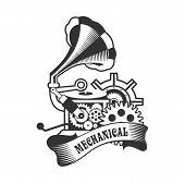 illustration of Steampunk with an antique gramophone mechanical components and rotating parts on a white background poster