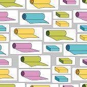 Seamless pattern with yoga mats and bricks