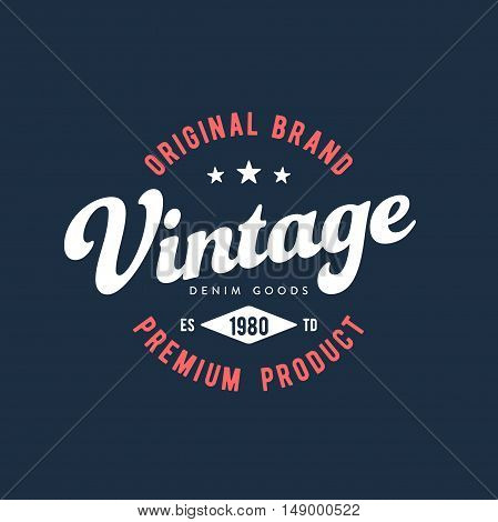Vintage Original Brand Apparel Design. Vector illustration
