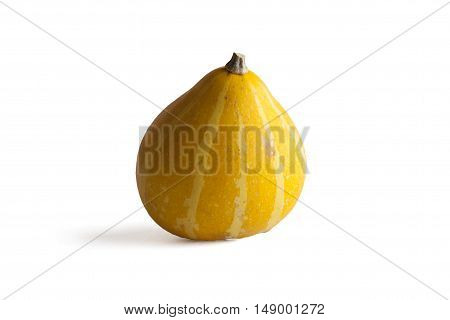 Stock image of a yellow gourd on a white background