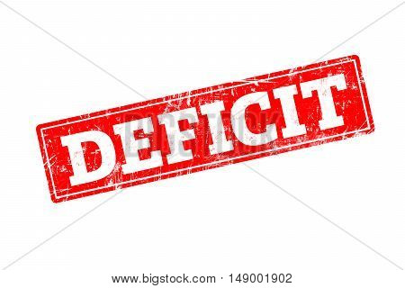 DEFICIT written on red rubber stamp with grunge edges.