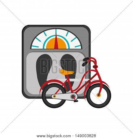 flat design weight scale and bike  icon vector illustration