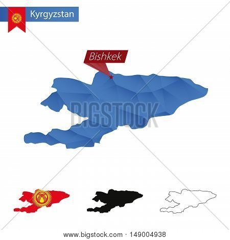 Kyrgyzstan Blue Low Poly Map With Capital Bishkek.