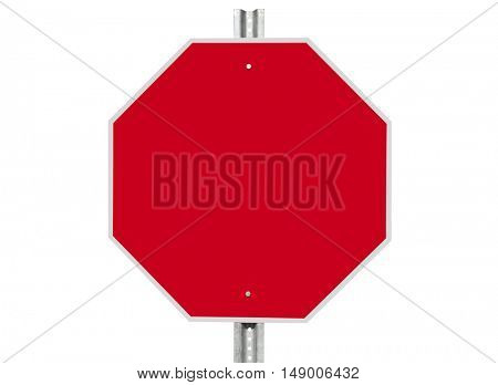 Empty stop sign isolated on white with clipping path.