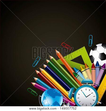 back to school set supplies vector illustration design