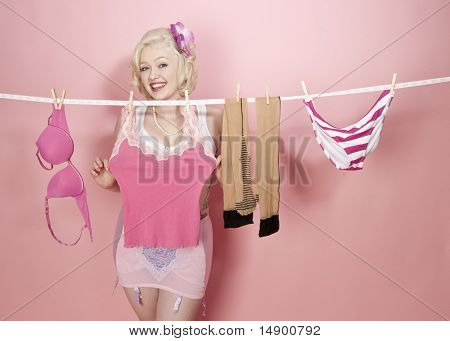 Pinup Model Doing Laundry