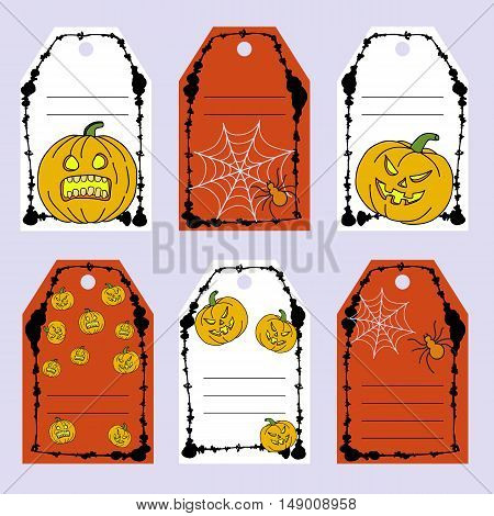 Set Gift Tags. Stock Vector Set Of Halloween Attributes And Symbols. Hand Drawing Pumpkin, Spider, W