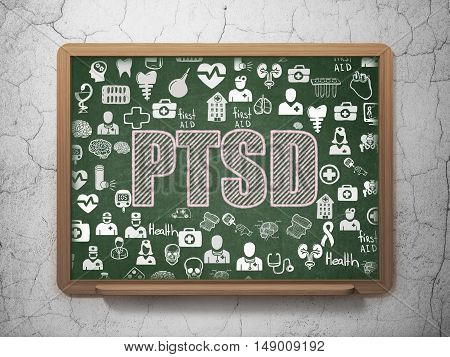 Medicine concept: Chalk Pink text PTSD on School board background with  Hand Drawn Medicine Icons, 3D Rendering