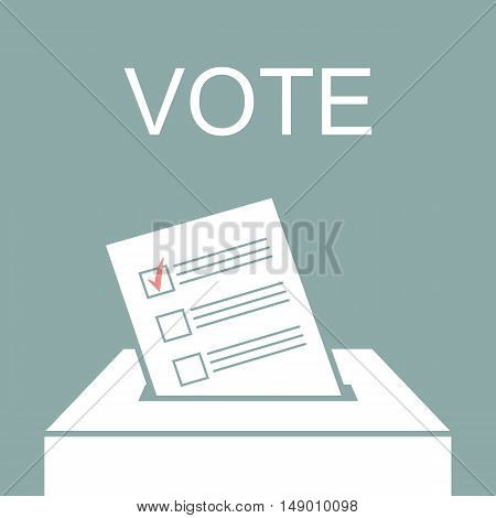Voting paper in ballot box. Vector illustration
