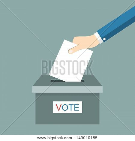Hand putting voting paper in ballot box. Vector illustration