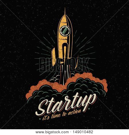 Colored lifts off rocket startup symbol in vintage retro style. Spaceship flies away into space. Textures and background on separate layers.