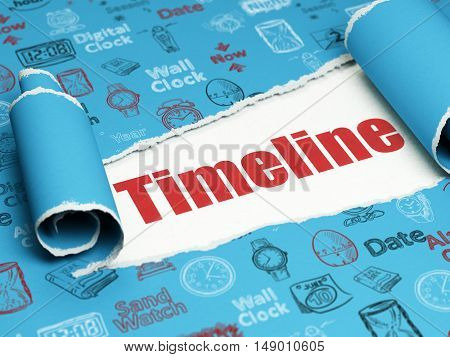 Timeline concept: red text Timeline under the curled piece of Blue torn paper with  Hand Drawing Time Icons, 3D rendering