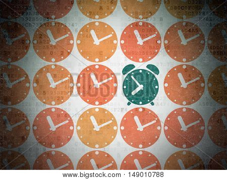 Time concept: rows of Painted orange clock icons around green alarm clock icon on Digital Data Paper background