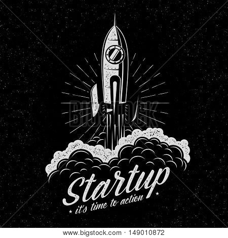 Rocket takes off startup symbol in retro vintage style. Launched spaceship logo. Textures and background on separate layers.