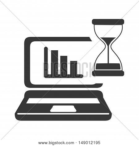 hourglass or sandclock with computer laptot with charts icon silhouette. vector illustration