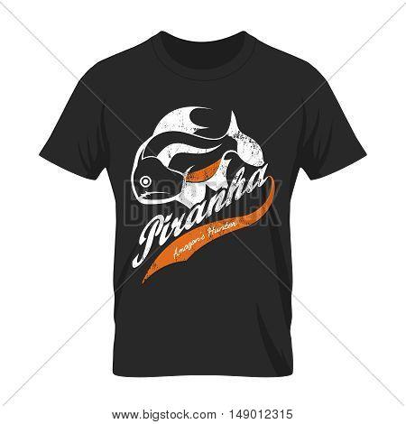 Vintage piranha old grunge effect tee print vector design.Premium quality superior American retro logo concept. Shabby dangerous fish t-shirt mock-up.