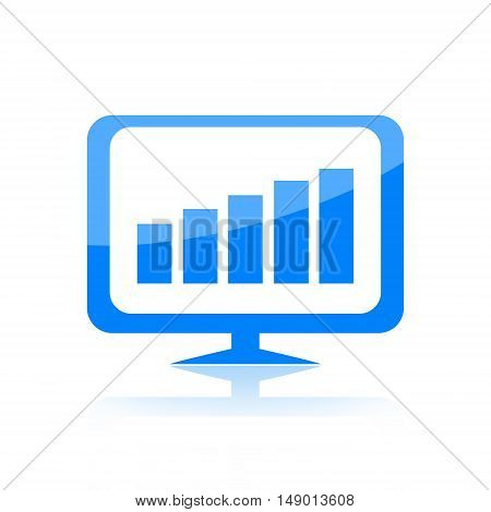 Business charts on computer monitor isolated on white background