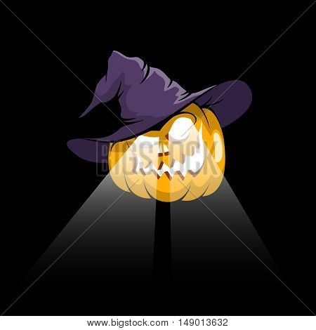Halloween pumpkin jack-o-lantern in witch hat with eyes spotlights on a dark background. Vector illustration.