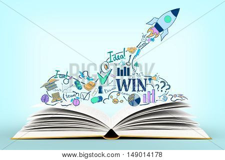 Open book with creative startup sketch on light blue background. Start up concept