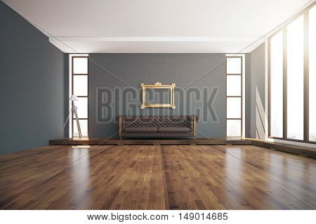 Luxurious interior design with wooden floor dark grey walls floor lamp windows with daylight ornate golden frame and brown leather couch. 3D Rendering