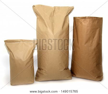 Blank brown craft paper bags isolated on white background
