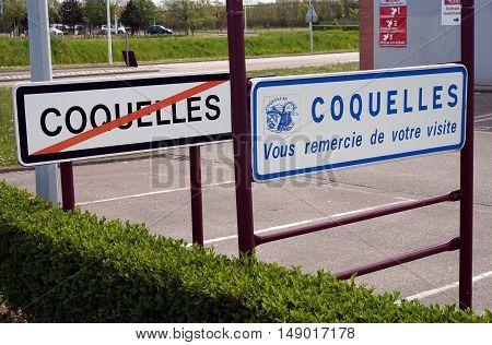 Coquelles, Pas-de-calais, France, May 07 2016: Town Limits Signs For Coquelles