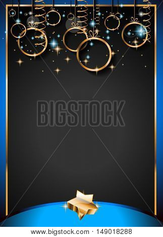 Christmas Vintage Classic Background with golden balls and star lights with a lot of space for text. Ideal  for outstanding greeting card or dinner invitations.