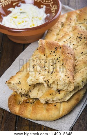 Barbari Or Persian Bread And Strained Yogurt