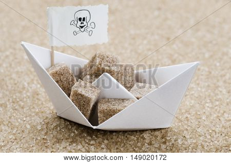 Brown sugar cubes in a brown sugar sea