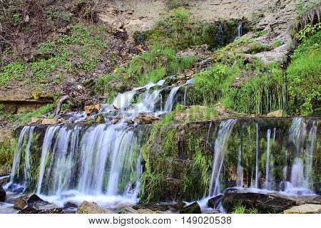Water streams and cascade of the waterfalls