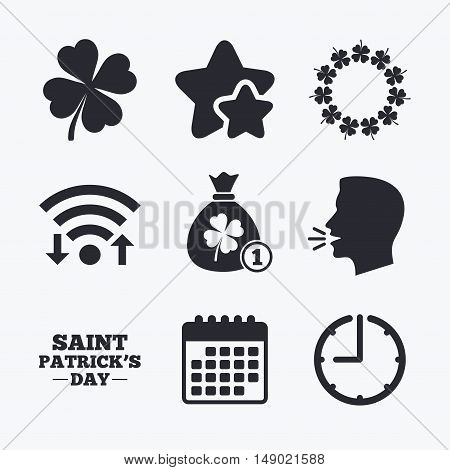 Saint Patrick day icons. Money bag with coin and clover sign. Wreath of quatrefoil clovers. Symbol of good luck. Wifi internet, favorite stars, calendar and clock. Talking head. Vector