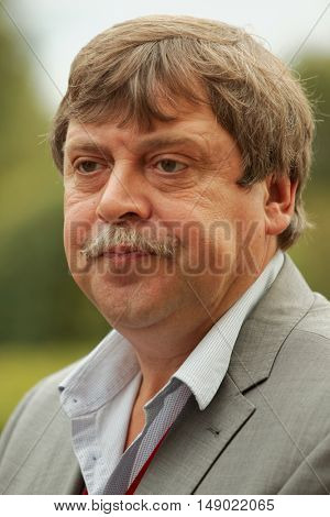 GATCHINA, ST. PETERSBURG, RUSSIA - SEPTEMBER 10, 2016: Director of Gatchina Museum-Reserve Vasily Pankratov during the festival Gatchinskaya Byl. The festival is held first time this year