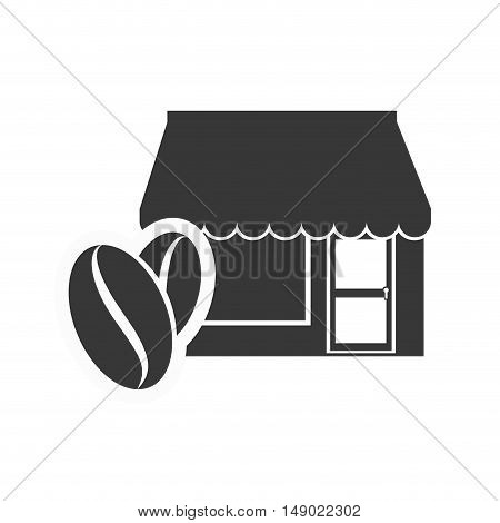 store bakery commerce building with coffee beans icon silhouette. vector illustration