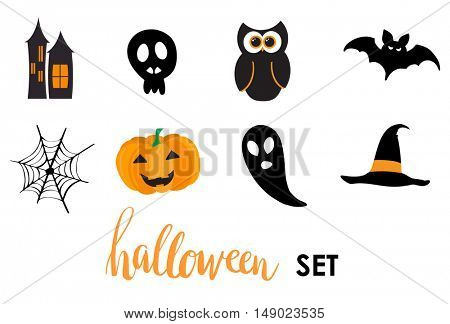 Collection of halloween stickers for your design.